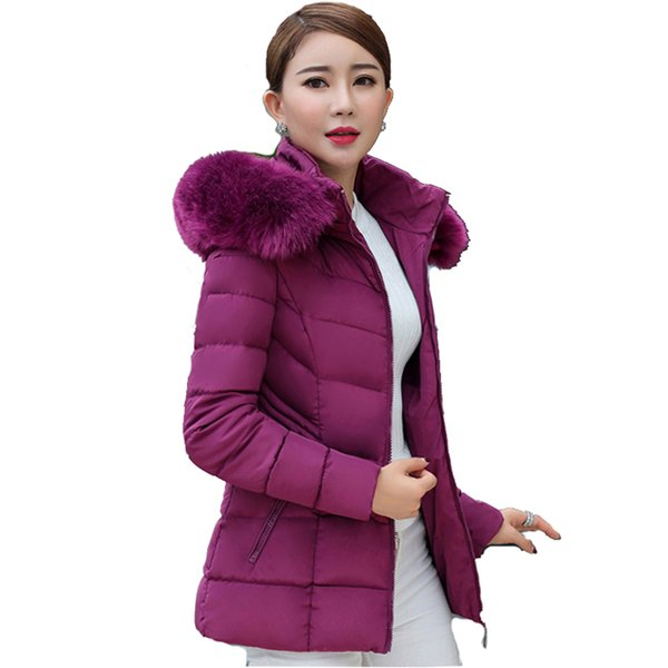 Short fur collar winter jacket women autumn cotton padded solid color womens parka with hood high quality female coat 2018 S18101501