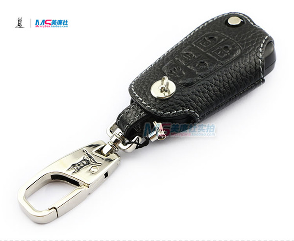 Genuine Leather Car Key Case for HOLDEN VF VOLT COMMODORE 5 buttons Flip Key FOB cover key holder black color auto accessories
