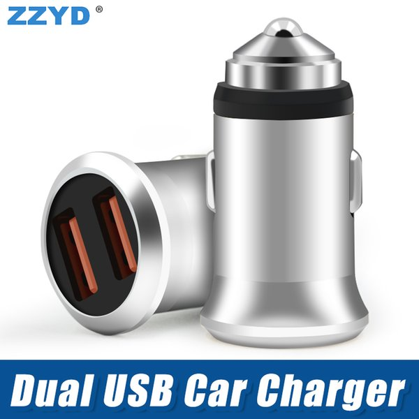 ZZYD Metal Dual USB Car Charger 5V 2.4A Portable Universal Cellphone Charging For iP 6 7 8 Samsung S8 Phone