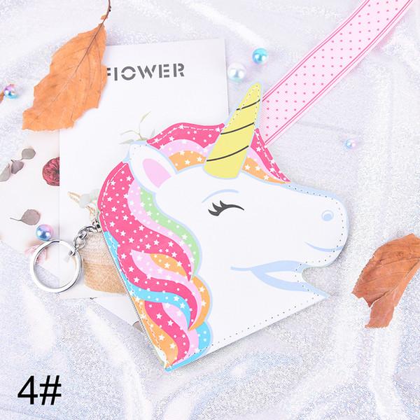 Porte-monnaie licorne en cuir PU avec fermeture /éclair pour femmes et filles avec porte-cl/és