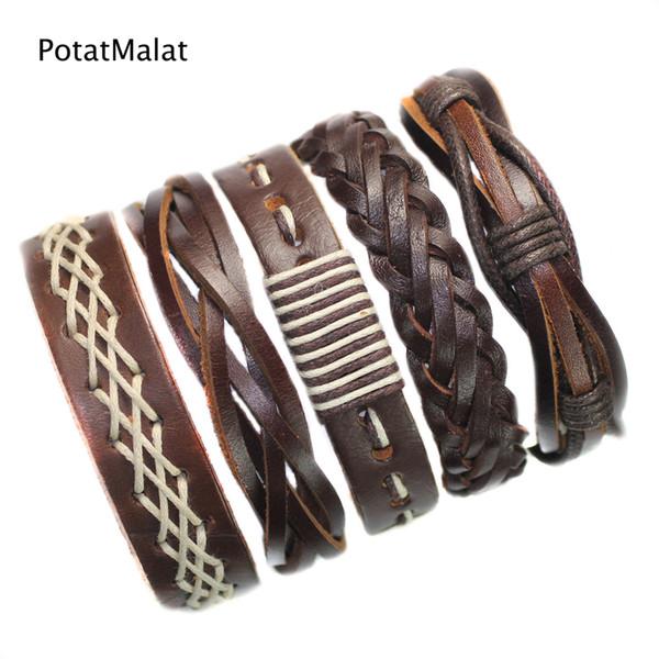 5Pcs/lot Genuine Men Wrap Charm Brown Bracelet Bangles Wristband Belt Handmade Vintage Bracelet Genuine Cowhide Punk Casual Jewelry-F51