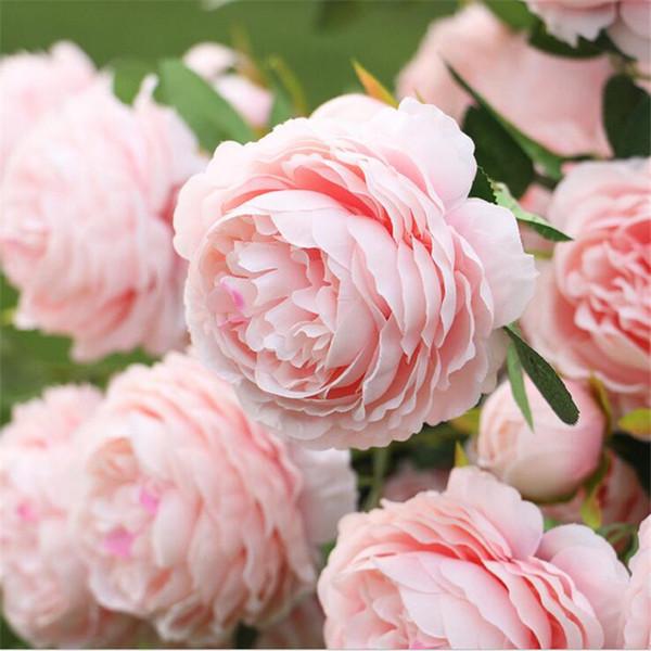3 teste fiore di peonia rosa artificiale ramo con foglie di seta flores peonie per interni casa tavolo decor fai da te decorazione di nozze 038