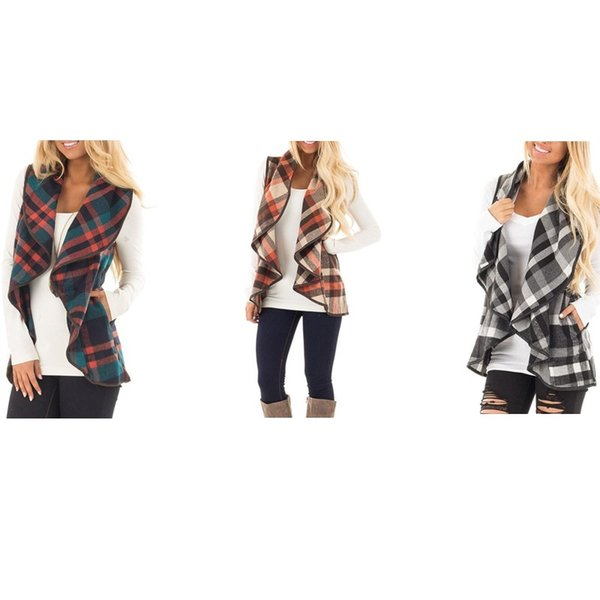 Casual Jacket Plaid Printed Cardigan Waistcoat Fashion Lapel Sleeveless Vest Shirt Lady Gift Multi Color Hot Sale 25zy C