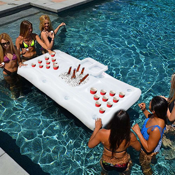 best selling Pool Party Games Raft Lounger Inflatable Floating pool adults Rafts Swimming Pool Lounger Beer Pong Table (Does not contain cups)