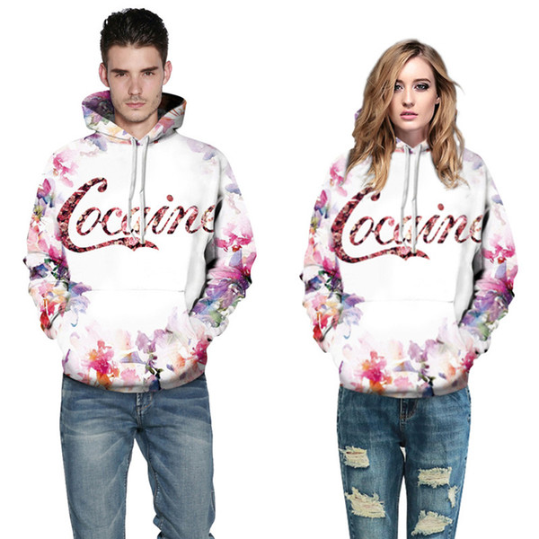 Wholesale free shipping Fashion Sweatshirts Men Women Hooded Hoodies hamburger Flower 3d Digital Print Cotton Pullovers Hoody