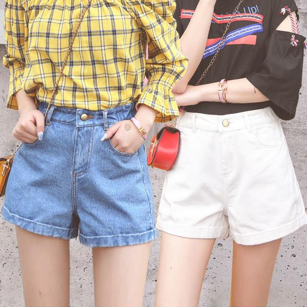 Jeans, filles, été, étudiants décontractés, droits, grands, taille, jambes larges et pantalon blanc chaud.