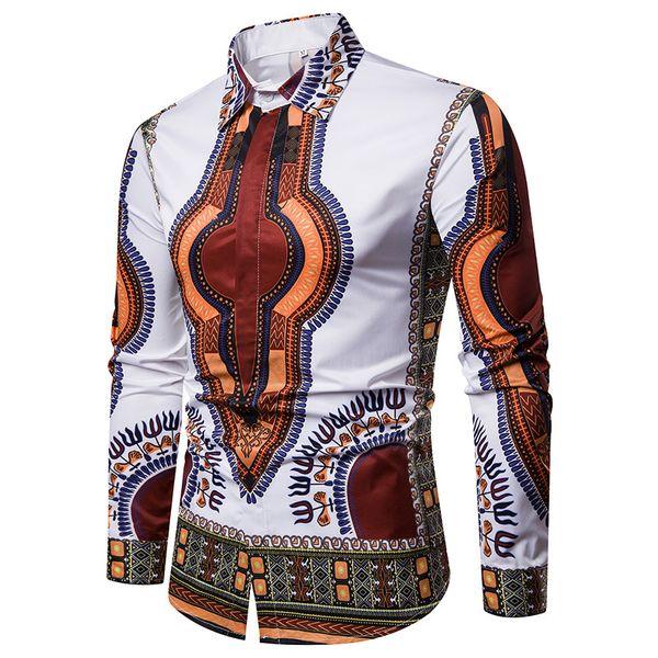 designer spring autumn long sleeve casual men's shirts tops men printed dress shirt slim fit silk shirts M-3XL free shipping