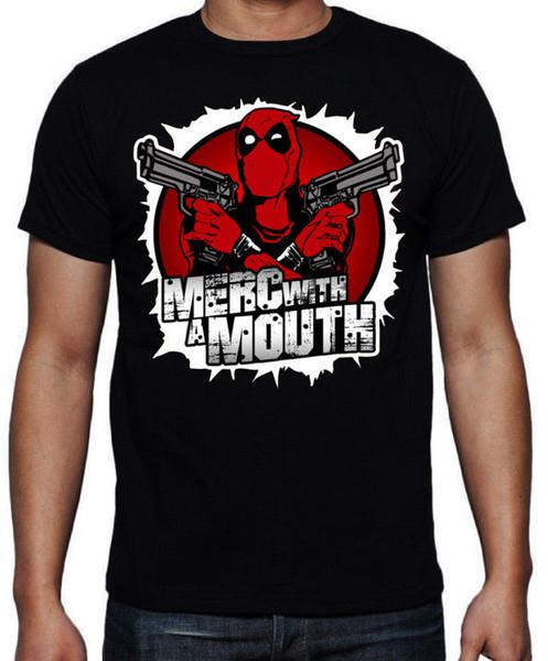 Deadpool Merc mit einem Mund schießt lustiges Superheld-Söldner-Francis-Aktions-T-Shirt