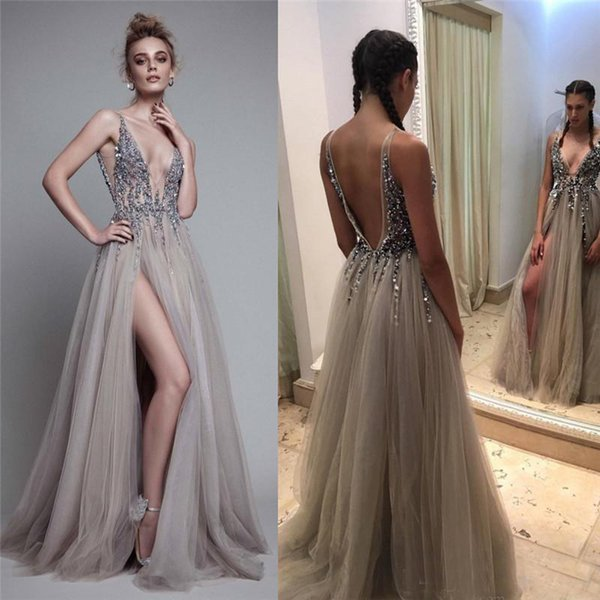 line prom dress plunge neckline Coupons - Sexy Beads Thigh Split Evening  Dresses Plunging Neckline Appliques 51009be61