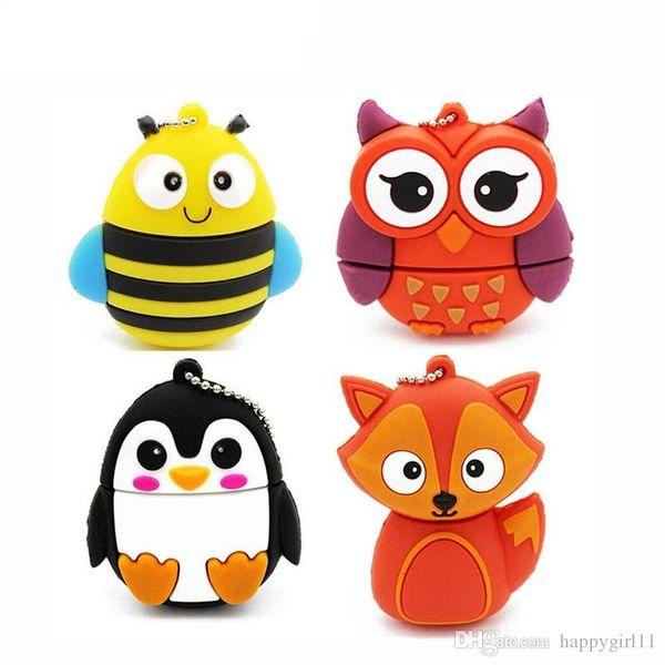 Mixed order Cute Penguin/Owl/Bee/Fox/Pen Drive Cartoon Usb Flash Drive Pendrive 4GB/8GB/16GB/32GB/64GB/128GB U Disk Animal Memory Stick
