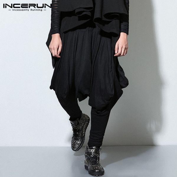 venta al por mayor Mens Harem pantalones baggy negro grande entrepierna Cross-Pants pantalones anchos de las piernas cintura elástica Streetwear más el tamaño 5XL