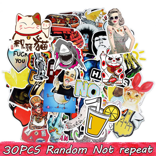 top popular Diy Waterproof Vinyl Stickers Pack for Kids Teens Adults Home Decor Sticker Bomb Laptop Skateboard Luggage Bumper Car Decals Random 30 pcs 2021
