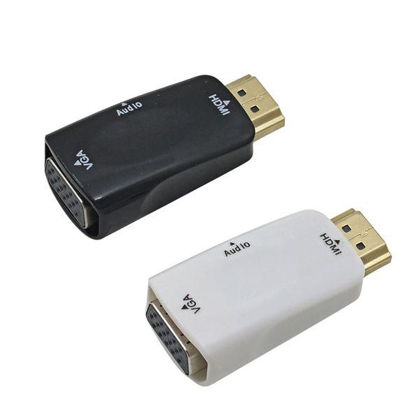 Mâle à femelle pour convertisseur HDMI vers VGA avec câble audio pour adaptateur de support de tablette pour ordinateur portable PC 1080p HDTV