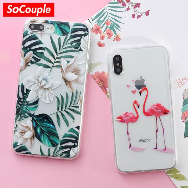 Iphone 7 için 2018SoCouple Kılıf Çiçek Bitkiler Meyve Kaktüs Yapraklar köpek Silikon Telefon Kılıfı Için iphone 6 6 s 6/7/8 artı X 5 5 s SE vaka