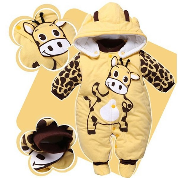 2018 Winter Tier gepolsterte Baumwolle Strampler rot / gelb / beige neugeborenes Baby Kleidung Baby Mädchen Kleidung für Neugeborene Bebes Outfits