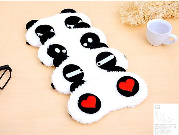 20 pçs / lote Bonito Panda Sleep Eyemask Algodão Confortável Máscaras de Olho Dos Desenhos Animados 4 Estilo Engraçado Trajes Cosplay Acessórios