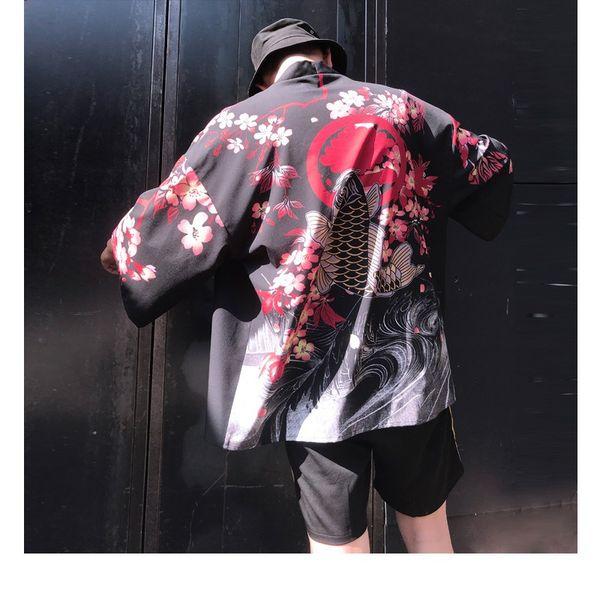 Blumenkimono Cardigan Männer lange Karpfen und Kirsche Print Kimono Cardigan Männer japanischen traditionellen Sommer neu
