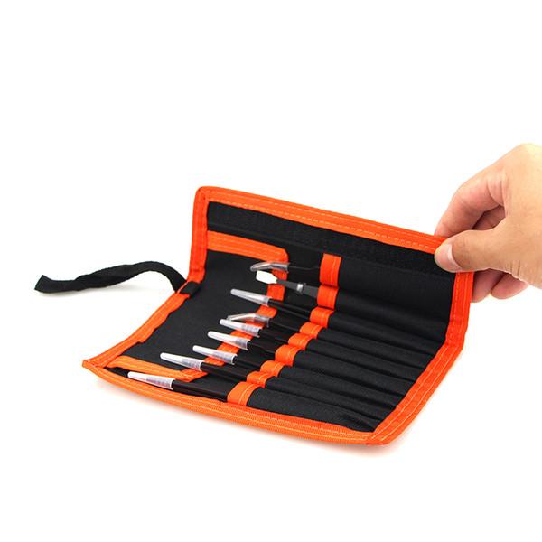 SLTECH-HK 9Pcs ESD Stainless Steel Tweezers Set Precision Repair Tools Kit Anti Static for Electronics Phone Repairing BGA Work