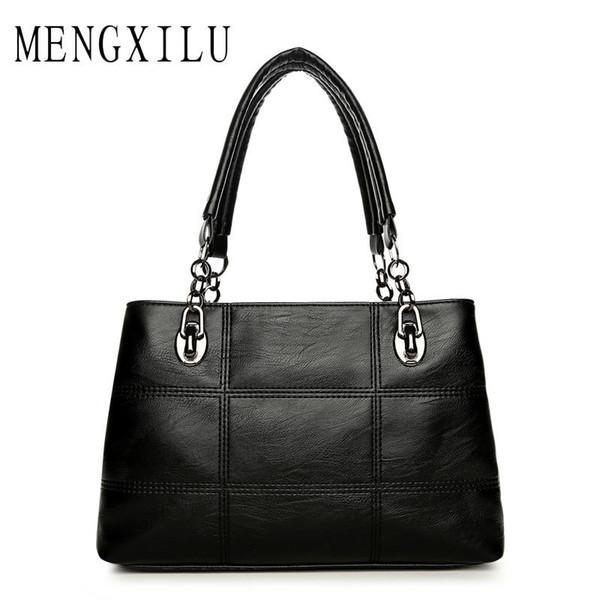 Big Women Bags Handbags Women Famous Designer Plaid Women Leather Handbags 2017 Luxury Ladies Hand Bags Shoulder Fashion Sac Y1892110