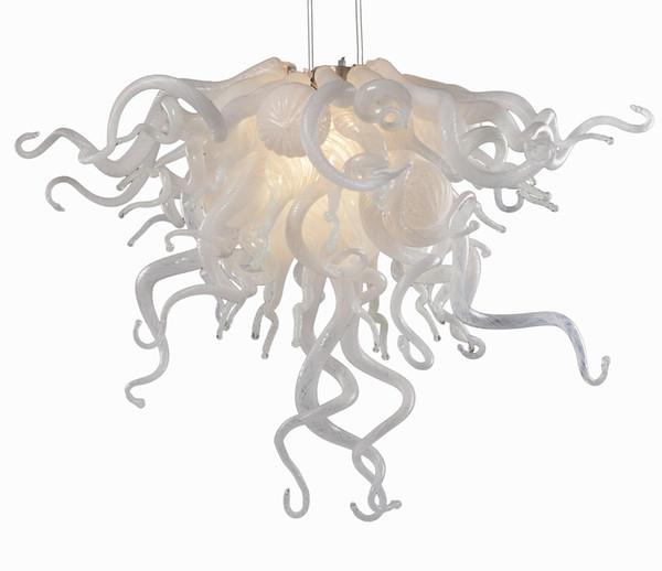 Lámparas de araña de cristal de Murano sopladas a mano estilo Chihuly en color claro y blanco lechoso Diseño urbano para la decoración de la mesa
