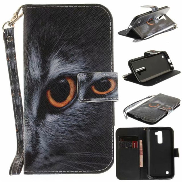 Flip Wallet Case For LG K10 2017 Cases Coque Animal Wolf Owl Tiger Lion Painted PU Leather Phone bags accessories Cover