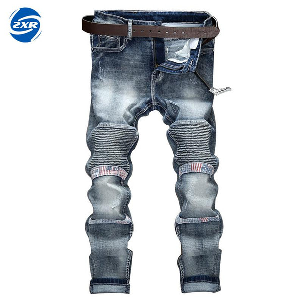Mens Biker Jeans Casual Pants Skinny Denim Trousers New Knee Draped Ripped Motorcycle Jeans Men Protection Black Grey