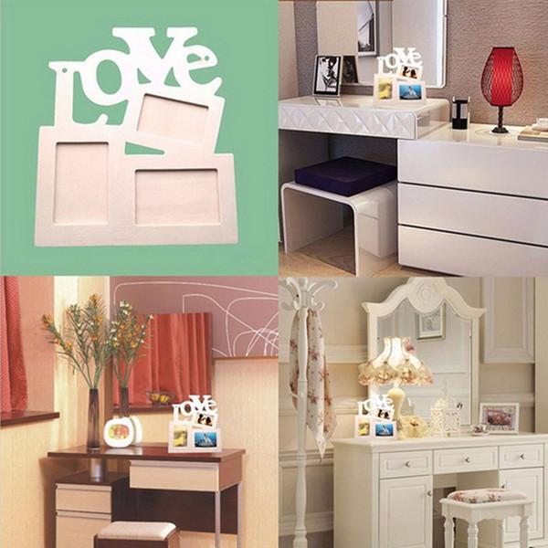 Hollow Love Design Wooden Photo Frame DIY Picture Frames 1pcs Art Home Desk Decor Three Windows DIY Home Decor