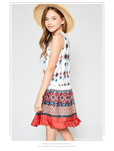 Bohemian Style Big Kids Girl Vintage Floral Dresses Teenager Fashion Sleeveless Dress Junior Summer Casual Dress 2019 Kids Clothing