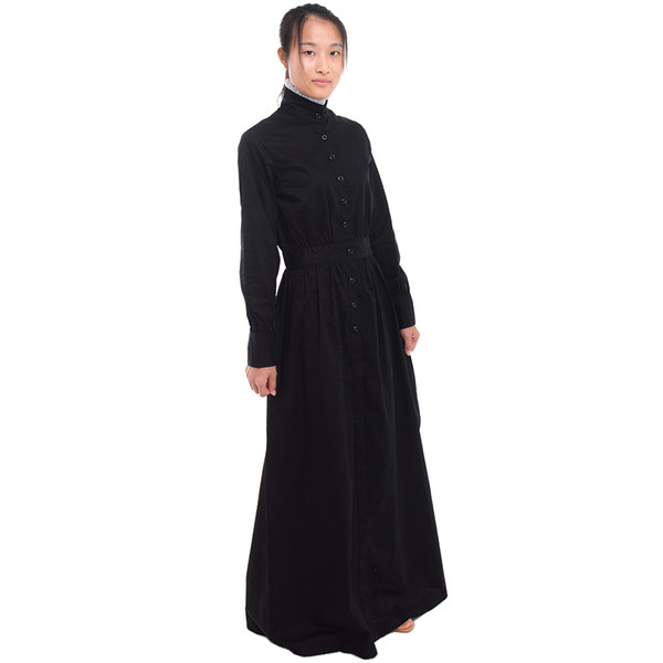 British Vintage Servant Black Walking Dress White Maid Apron Costume Victorian Edwardian Housekeeper Cosplay Fast Shipment