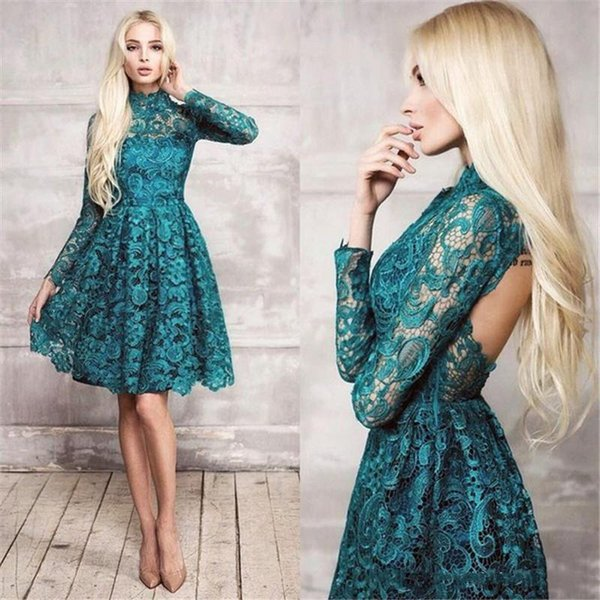 Cheap Lace Teal Long Sleeves Short Cocktail Dresses High Neck 2019 New Backless Knee Length Sexy Party Prom Dress Arabic Homecoming Gowns