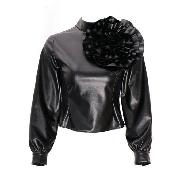 verkauf uk autorisierte Website gut aus x Großhandel Frauen Pu Leder Bluse Shirts Appliques Blume Plain Cool Lange  Laterne Ärmel Tops Schwarz Stehkragen Modern Fashion Shirts Von Z05a,  $45.77 ...