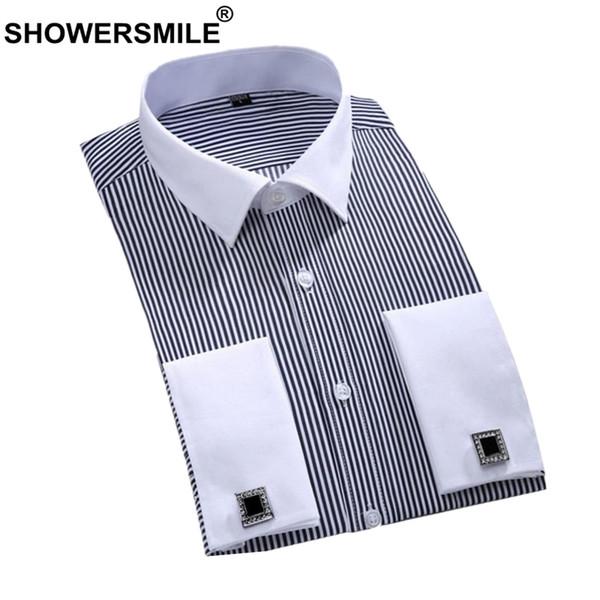 SHOWERSMLE Men Dress Shirt Cotton Black White Striped Business Casual French Cuff Shirts Male Long Sleeve Wedding Shirt 5XL 6XL