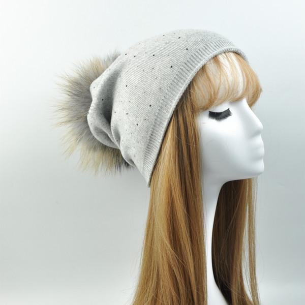 Cashmere Blend Detachable Natural Fur Pompom Beanie Hat