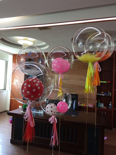 top popular Wholesale 24 inch No Wrinkle Bobo Transparent Clear Balloons Marriage Wedding Decro Helium Inflatable Balls Kids Lovers Gifts Toys 2020