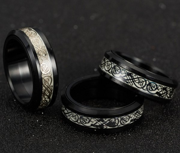 Hot sale Man Rotary luminous Dragon Gold Plated Silver Black Stainless steel ring 6#--13# G361#