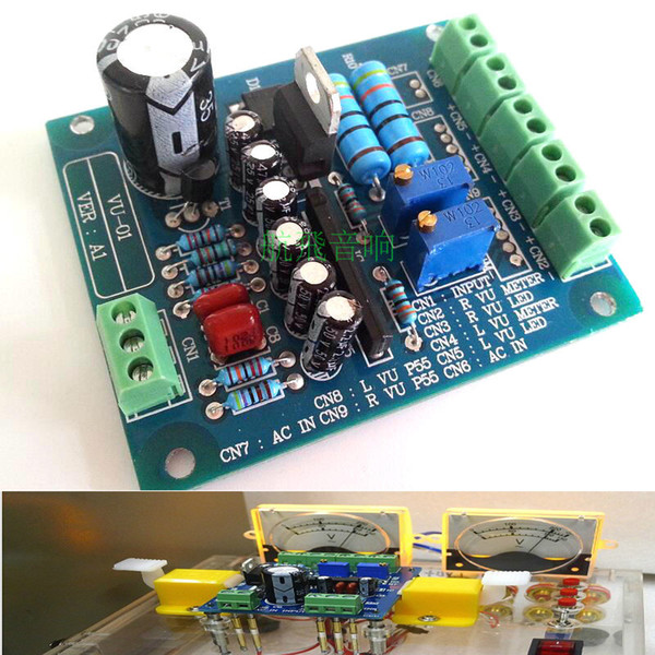 Freeshipping Dual Stereo VU Meter Driver Board Amplifier DB Audio Level AC 12V Input Backlit