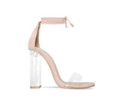 Pink Nude Faux Suede High Heels Women Sandals Transparent PVC Ankle Strap Women Pumps Lace-Up Clear Block Heels Shoes