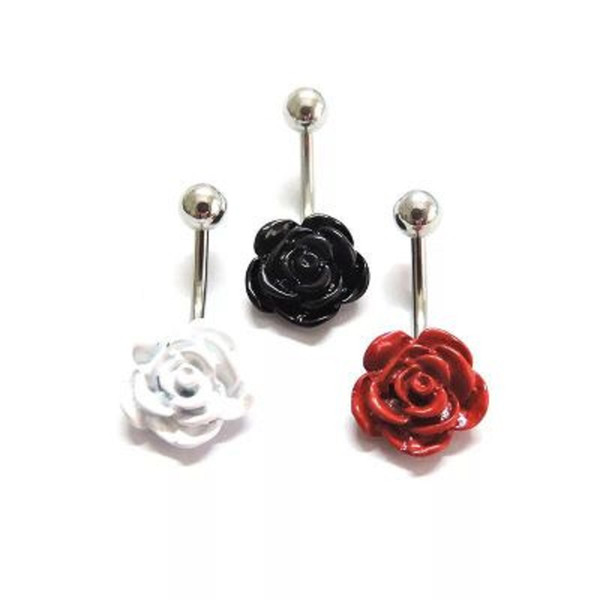 Cheap Boutique Ceramic Rose Shape Navel Belly Sexy Piercing Body Jewelry Piercing Septo Medical Steel 3 Colors Wholesale