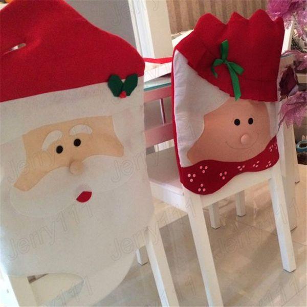 Santa Claus Dining Chair Covers Christmas Grandma Chair Cover DIY Mr&Mrs Dinner festival seat decor supplies LE105