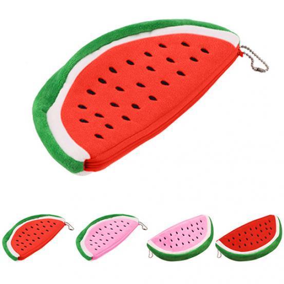 Laamei Watermelon coin purse watermelon plush key coin wallet purse cosmetic makeup pouch phone pencil pen bag