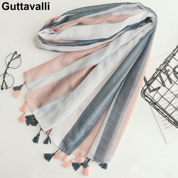 Guttavalli Women Fashion Striped Lines Cotton Tassels Long Shawl Female Skinny Patchworks Geometric Wrap Chevron Sunscreen Scarf