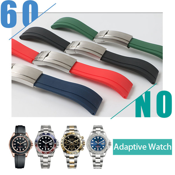 Waterproof Rubber Watchband Stainless Steel Fold Buckle Watch Band Strap for Oysterflex Bracelet Watch Man 20mm Black Blue Red White+TOOL