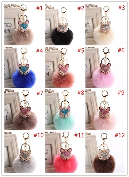 8cm Fox Pendant Plush toys Rabbit hair imitation Ball Plush Ball Fox With Diamonds Mobile phone bag Pendant Key Buckle