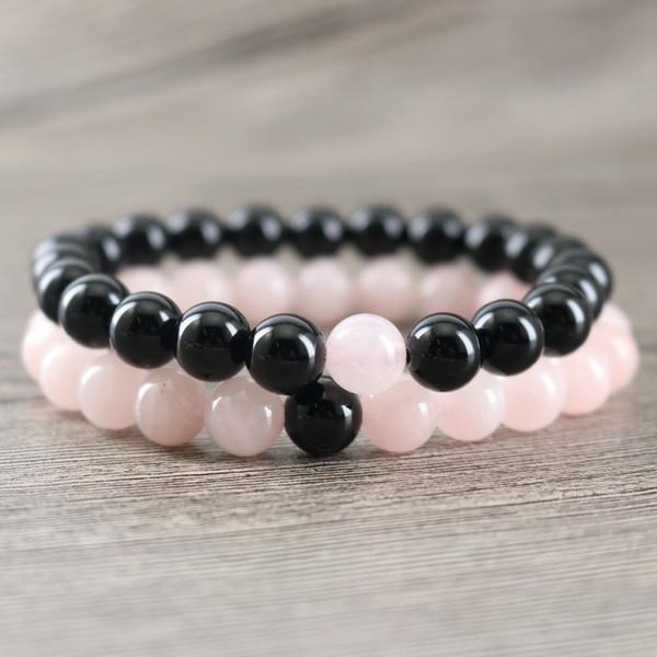 Echte schwarze Onyx Rock Stone Perlen mit natürlichen Rose Pink Crystal Perlen Heilung glückliche Energie Armbänder Paare Armreif Schmuck