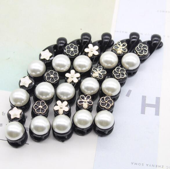 New Fashion Enamel Crown Bowknot Camellia Flower Hair Clips Smooth Pearl Banana Clips Black Acrylic Hair Clips For Women Hair Accessories