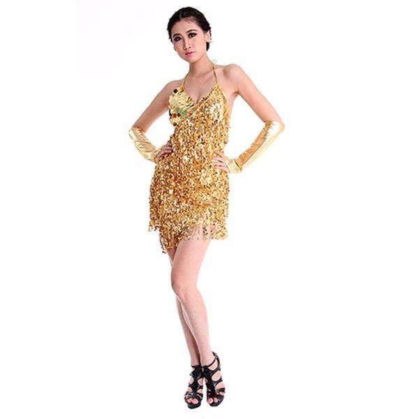 Sexy donne Lady Girls Latin Dance Dress Paillettes Tass Paillettes Nappa Decorare senza maniche Dancewear LM75