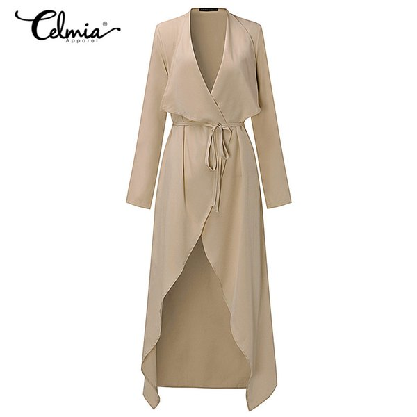 Autumn Women Trench Coat Long Cardigan Belted Solid Long Coat Windbreaker Office Work Elegant Outerwear Thin Trench S-3XL 2018
