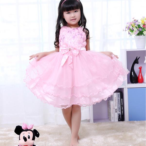 2017 Girls Puffy Birthday Party Children Dresses Handmade Flower ...