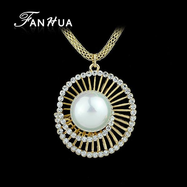 FANHUA Elegant Long Gold-Color Chain with Simulated Pearl Jewelry Round Pendant Necklace