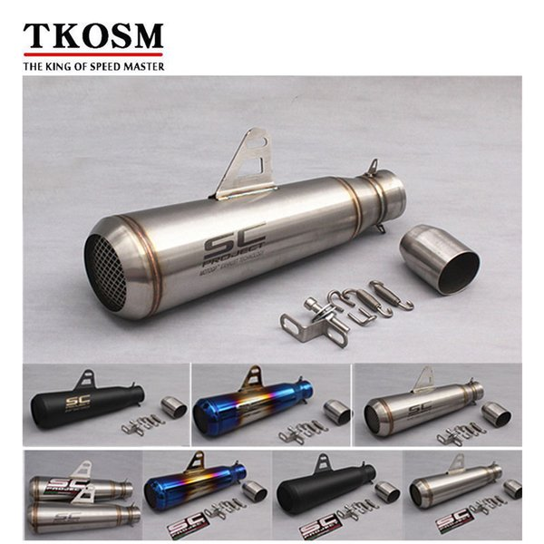 TKOSM 51mm Universal Motorcycle Exhaust Muffler Modified SC Exhaust Stainless Steel Fit Most Motorbike Scooter ATV